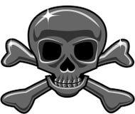 Cráneo metálico aislado y bandera pirata libre illustration