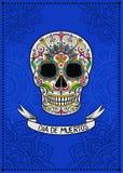 Cráneo mexicano del azúcar con el estampado de flores, Dia de Muertos, elemento del diseño para el cartel, ejemplo del vector de  libre illustration