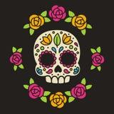 Cráneo mexicano del azúcar con las flores Imagen de archivo