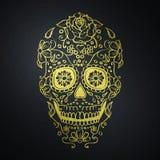 Cráneo mexicano del azúcar en fondo negro Imagenes de archivo