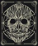 Cráneo mexicano dibujado mano con el bigote ilustración del vector