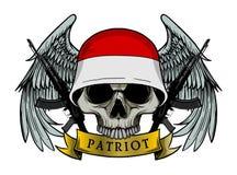 Cráneo militar o cráneo del patriota con el casco de la bandera de INDONESIA Imagen de archivo