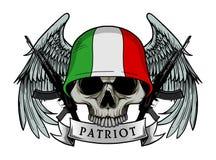 Cráneo militar o cráneo del patriota con el casco de la bandera de Italia Foto de archivo