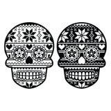 Cráneo negro mexicano del azúcar con el modelo del nordic del invierno libre illustration