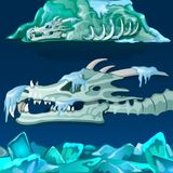 Cráneo nevado del dragón en fondo azul Ilustración del vector libre illustration