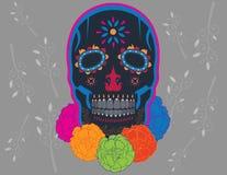 Cráneo oscuro mexicano adornado ilustración del vector