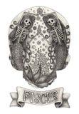 Cráneo Piscis del zodiaco Gráfico de la mano en el papel Imagen de archivo libre de regalías