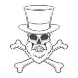 Cráneo proscrito con la barba, el alto sombrero y los huesos cruzados Imagenes de archivo