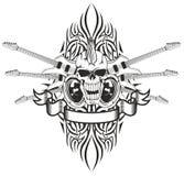 Cráneo punky con las guitarras stock de ilustración