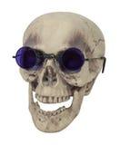 Cráneo que desgasta los vidrios púrpuras Imagenes de archivo