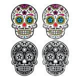 Cráneo retro mexicano del azúcar, iconos de Dia de los Muertos fijados Imagen de archivo libre de regalías