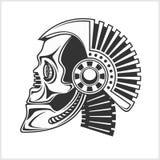 Cráneo robótico en el fondo blanco stock de ilustración