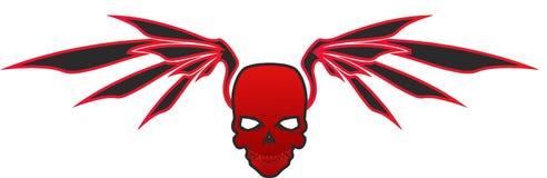 Cráneo rojo con las alas - vector Fotografía de archivo libre de regalías