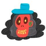 Cráneo rojo de la historieta y sombrero azul ilustración del vector