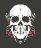 Cráneo Rose y daga Fotografía de archivo