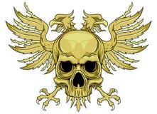 Cráneo verde con las alas ilustración del vector