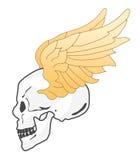 Cráneo y alas stock de ilustración