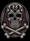 Cráneo y bandera pirata Foto de archivo