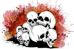 Cráneo y bandera pirata cráneos y huesos humanos con la profundidad del campo baja ilustración del vector