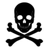 Cráneo y bandera pirata de la silueta Imágenes de archivo libres de regalías