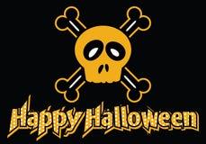 Cráneo y bandera pirata del feliz Halloween Foto de archivo libre de regalías