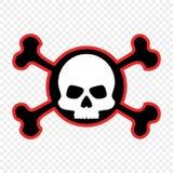 Cráneo y bandera pirata, icono El concepto de advertencia del peligro mortal La marca del pirata Vector stock de ilustración