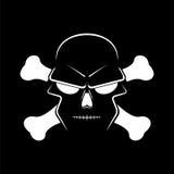 Cráneo y bandera pirata - una marca del icono del peligro libre illustration