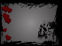 Cráneo y corazones Foto de archivo libre de regalías