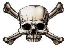 Cráneo y dibujo de la bandera pirata stock de ilustración