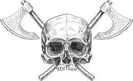 Cráneo y dos hachas Imagen de archivo libre de regalías