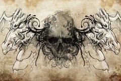 Cráneo y dragones, bosquejo del tatuaje ilustración del vector