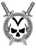 Cráneo y espada ilustración del vector
