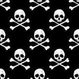 Cráneo y fondo inconsútil de la bandera pirata Imagen de archivo