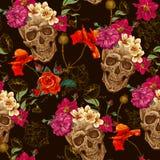 Cráneo y fondo inconsútil de las flores Imagen de archivo libre de regalías