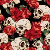 Cráneo y fondo inconsútil de las flores Fotografía de archivo libre de regalías