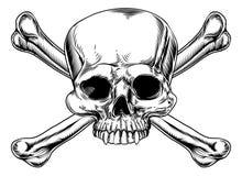 Cráneo y huesos cruzados ilustración del vector