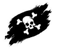 Cráneo y huesos del ejemplo del grunge de la bandera de pirata ilustración del vector