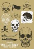 Cráneo y huesos del pirata del vector fijados Imagenes de archivo