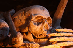 Cráneo y huesos humanos decorativos Fotos de archivo