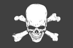 Cráneo y huesos humanos realistas dibujados mano Ejemplo monocromático del vector en fondo negro libre illustration