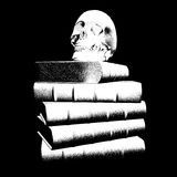 Cráneo y libros de la ilustración Foto de archivo