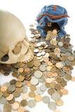 cráneo y moneda Imagen de archivo libre de regalías