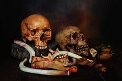 cráneo y muestra de la bandera pirata del peligro a la vida Imágenes de archivo libres de regalías
