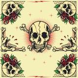 Cráneo y Rose Frames Foto de archivo