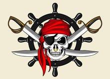 Cráneo y rueda del pirata Imágenes de archivo libres de regalías