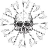 Cráneo y sol negro Fotos de archivo