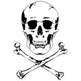Cráneo y vector de la bandera pirata Fotos de archivo libres de regalías