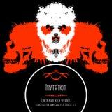 Cráneos asustadizos invitación o postal para Halloween libre illustration