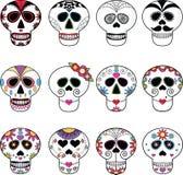 Cráneos/día de Sugar Skulls/del caramelo de los cráneos muertos. Imagen de archivo libre de regalías
