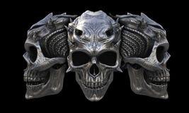 Cráneos de cuernos de metales pesados del demonio ilustración del vector